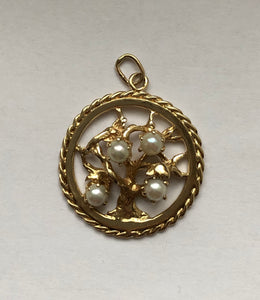 Vintage 14K Gold and Pearl Tree of Life Charm Pendant