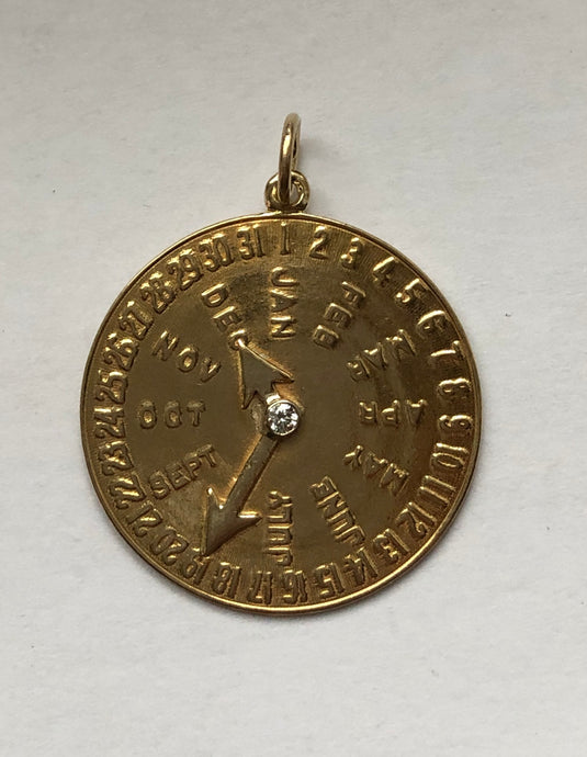 Vintage 14K Gold and Diamond Date Charm for December 19 Birthday Anniversary