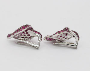 Stunning 8 Carat Natural Ruby and Diamond 18K Gold Lily Flower Clip Earrings - alpha-omega-jewelry