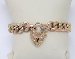 Edwardian 9K Gold Curb Link and Heart Padlock Engraved Bracelet - alpha-omega-jewelry