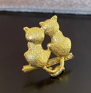 Vintage 18K Gold and Diamonds Pair of Cats Pin, Brooch