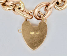 Load image into Gallery viewer, Edwardian 9K Gold Curb Link and Heart Padlock Engraved Bracelet - alpha-omega-jewelry