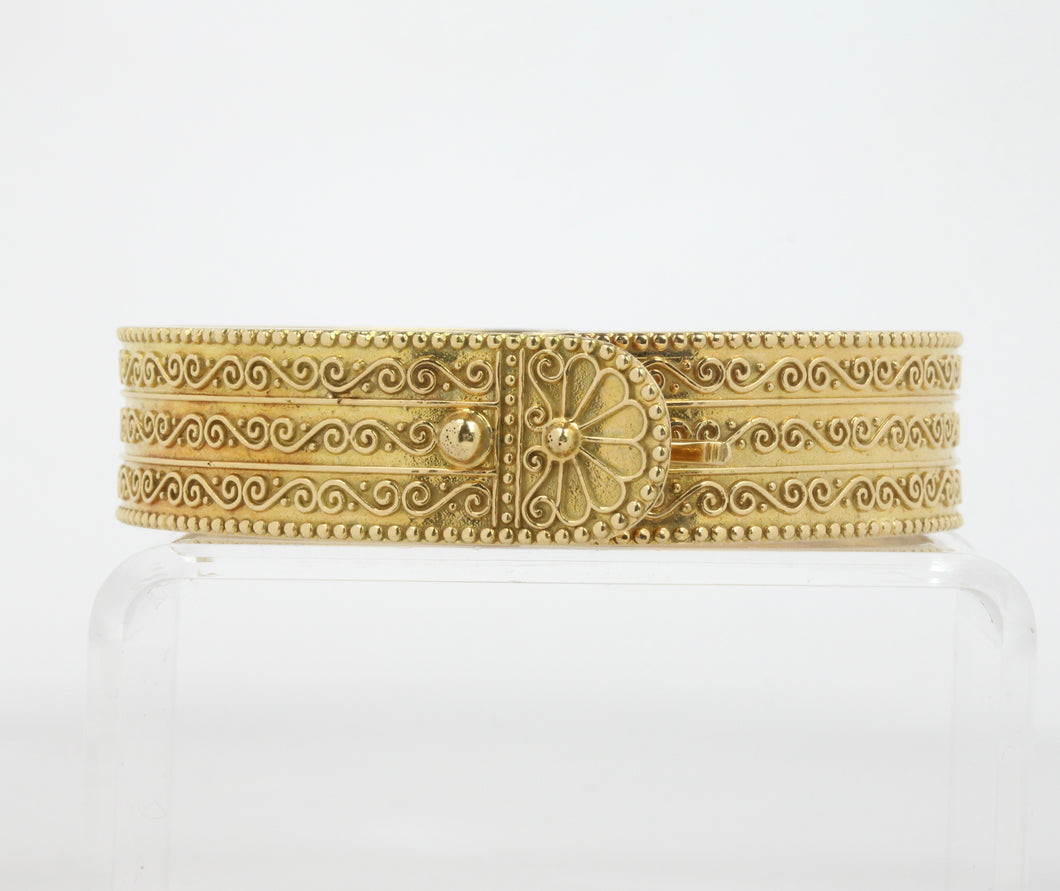 Vintage Zolotas 18K Gold Buckle Bangle Bracelet