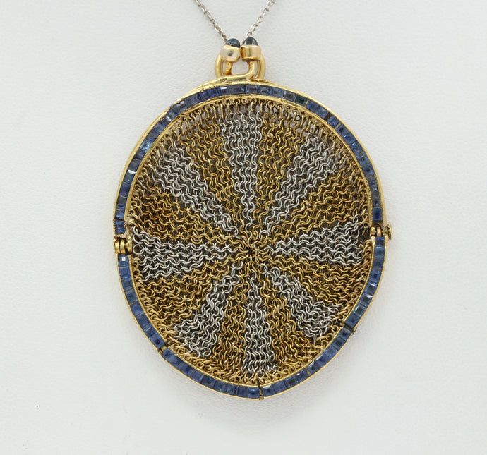 Antique Sapphire Platinum 18K Gold Mesh Coin Purse Pendant