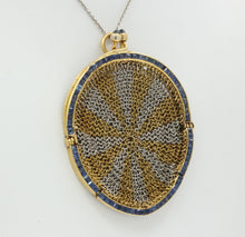 Load image into Gallery viewer, Antique Sapphire Platinum 18K Gold Mesh Coin Purse Pendant