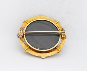 Large Victorian Banded Agate 14K Gold and Enamel Sentimental Brooch Pin - alpha-omega-jewelry