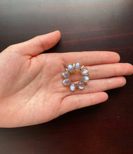 Load image into Gallery viewer, Vintage Tiffany & Co Moonstone and Sapphire 14K Gold Circle Brooch