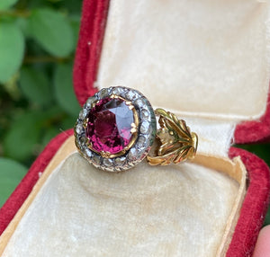 Victorian Rhodolite Garnet and Rose Cut Diamond 18K Gold Tulip Ring