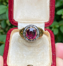 Load image into Gallery viewer, Victorian Rhodolite Garnet and Rose Cut Diamond 18K Gold Tulip Ring