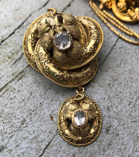 Load image into Gallery viewer, Victorian Etruscan Revival 14K Gold and Quartz Love Knot Brooch Pendant
