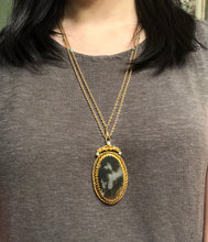 Load image into Gallery viewer, Victorian Dendritic Moss Agate and 0.5 Carat Diamond 14K Gold Pendant Necklace