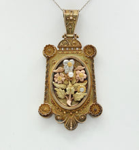 Load image into Gallery viewer, Victorian Multicolor 14K Gold Floral Bouquet Locket Pendant