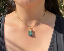 Load image into Gallery viewer, Burle Marx 18K Gold Rough Green Tourmaline Pendant