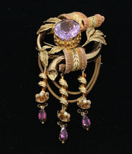 Load image into Gallery viewer, Large Victorian 14K Gold Amethyst and Dangling Rhodolite Garnet Brooch