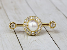 Load image into Gallery viewer, Antique GIA Natural Saltwater Pearl and 1.3 Carat Diamond 20K Gold Bar Pin - alpha-omega-jewelry
