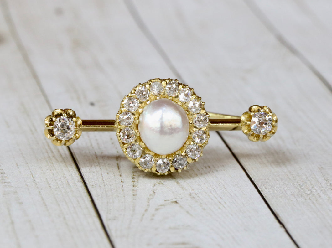 Antique GIA Natural Saltwater Pearl and 1.3 Carat Diamond 20K Gold Bar Pin - alpha-omega-jewelry