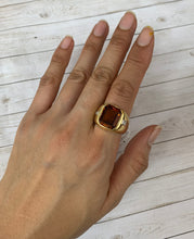 Load image into Gallery viewer, Vintage H. Stern Heavy 18K Gold Citrine and Diamond Unisex Ring