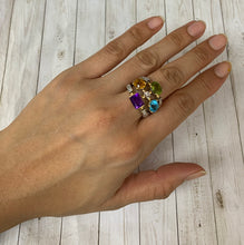 Load image into Gallery viewer, Vintage 18K Gold Diamond Peridot Citrine Amethyst Topaz Statement Ring