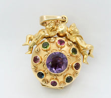 Load image into Gallery viewer, Heavy 18K Gold Angel Cupid Amethyst Vintage Watch Charm Pendant