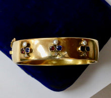 Load image into Gallery viewer, Victorian Trefoil Clover Diamond Sapphire Ruby and Pearl 18K Gold Bangle Bracelet - alpha-omega-jewelry