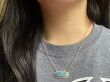 Load image into Gallery viewer, Large Australian Opal and Diamond Halo East to West 14K Rose Gold Necklace
