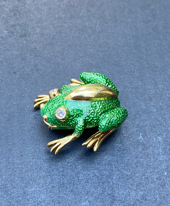 Vintage 18K Gold Diamond and Green Enamel Frog Brooch Pin