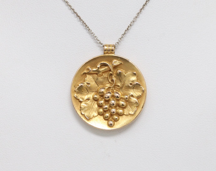 Art Nouveau 14K Gold Repousse Grape Charm Disc Pendant - alpha-omega-jewelry