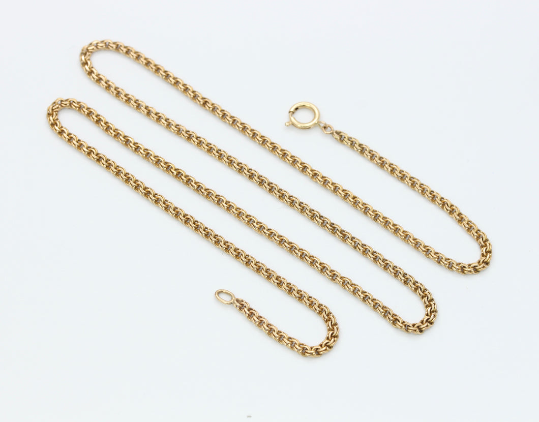 Antique 14K Gold Double Curb Flat Link Chain Necklace