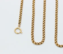 Load image into Gallery viewer, Antique 14K Gold Double Curb Flat Link Chain Necklace