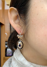 Load image into Gallery viewer, Vintage 14K Rose Gold Enamel Diamond and Sapphire Bow Drop Earrings