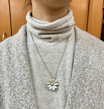 Load image into Gallery viewer, Art Nouveau Pearl and Old Cut Diamond 14K Gold Daisy Flower Pendant Pin