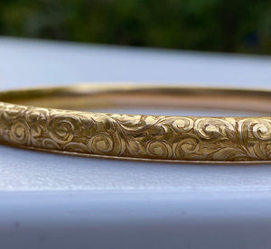 Riker Brothers Art Nouveau 14K Gold Foliate Engraved Bangle Bracelet