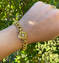 Load image into Gallery viewer, Edwardian 14K Gold and Diamond Love Knot High Relief Bracelet