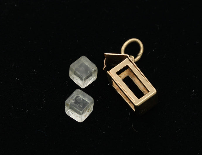 Vintage 10K Gold Removable Pair of Dice Charm Pendant