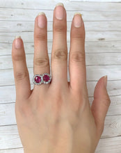 Load image into Gallery viewer, GIA Certified Burma No Heat Ruby and White Sapphire Victorian Ring