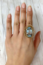 Load image into Gallery viewer, Large 40 Carat Aquamarine 14K Gold Flower Cocktail Ring