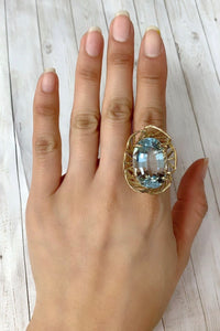 Large 40 Carat Aquamarine 14K Gold Flower Cocktail Ring