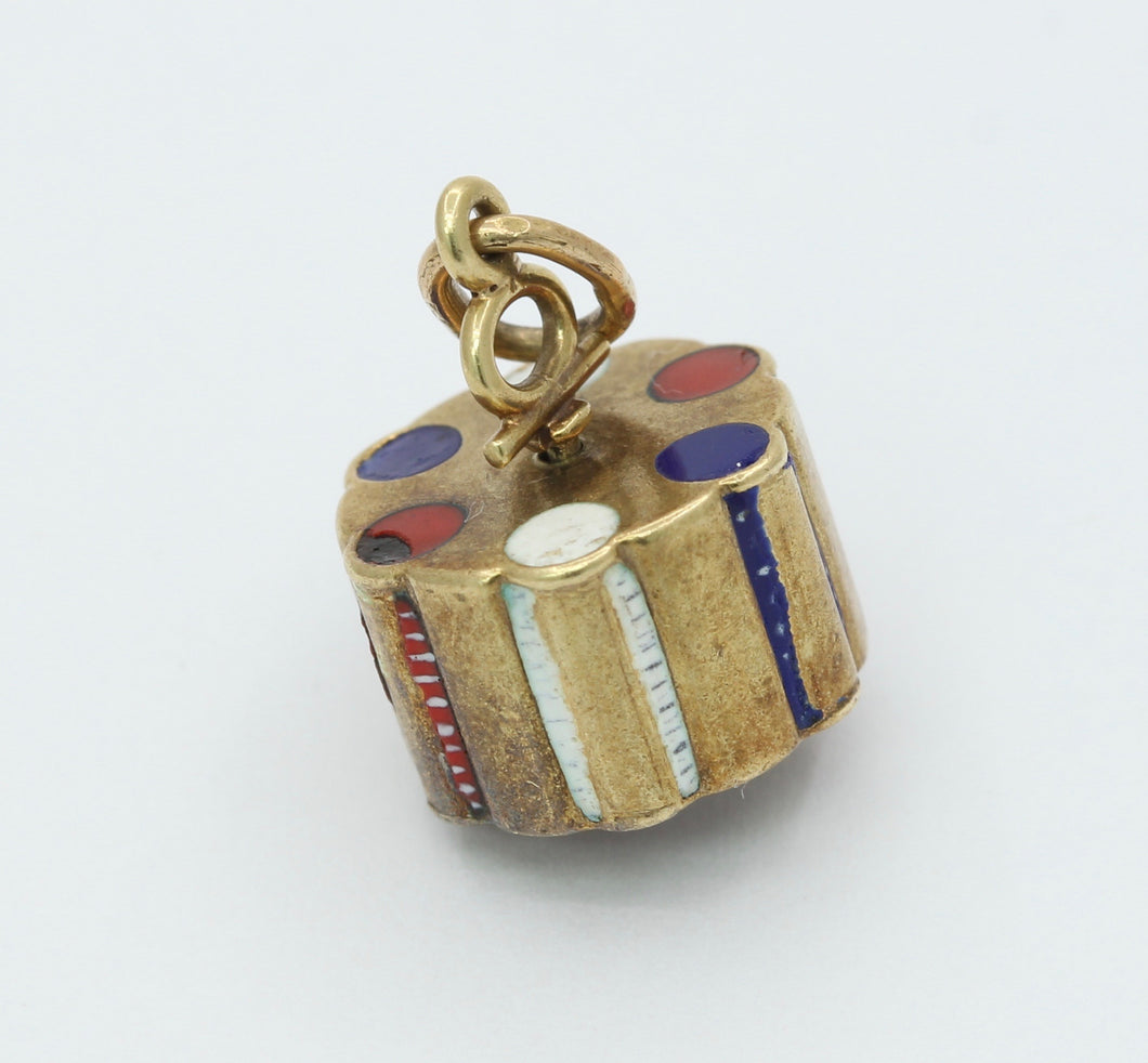 Vintage 14K and Enamel Spinning Poker Chips Charm Pendant