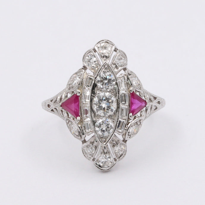 Art Deco Platinum 1.35 Carat Diamond and Natural Ruby Navette Ring, Alternative Engagement Ring