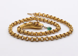 Victorian Opal, Diamond, Emerald 18K Gold Snake Necklace, Statement Chain
