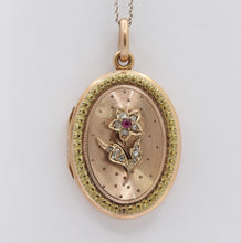 Load image into Gallery viewer, Victorian Diamond & Ruby Forget Me Not Flower 14K Gold Locket Pendant