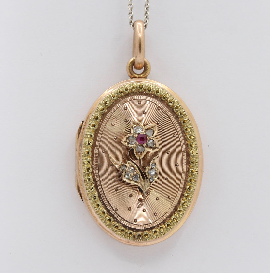 Victorian Diamond & Ruby Forget Me Not Flower 14K Gold Locket Pendant