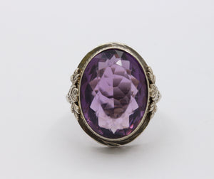 Large Art Deco 14K Gold Amethyst Rose Filigree Ring