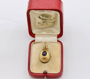 Russian 14K Gold and Sapphire Egg Charm in Original Antique Box