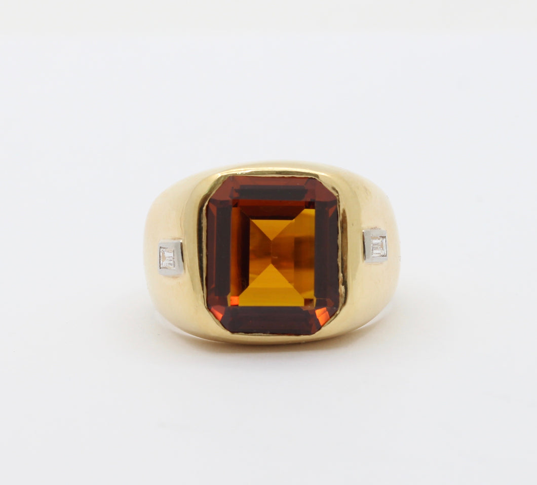 Vintage H. Stern Heavy 18K Gold Citrine and Diamond Unisex Ring