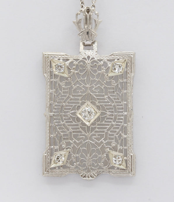 Art Deco 14K Gold and Diamond Camphor Glass Filigree Pendant