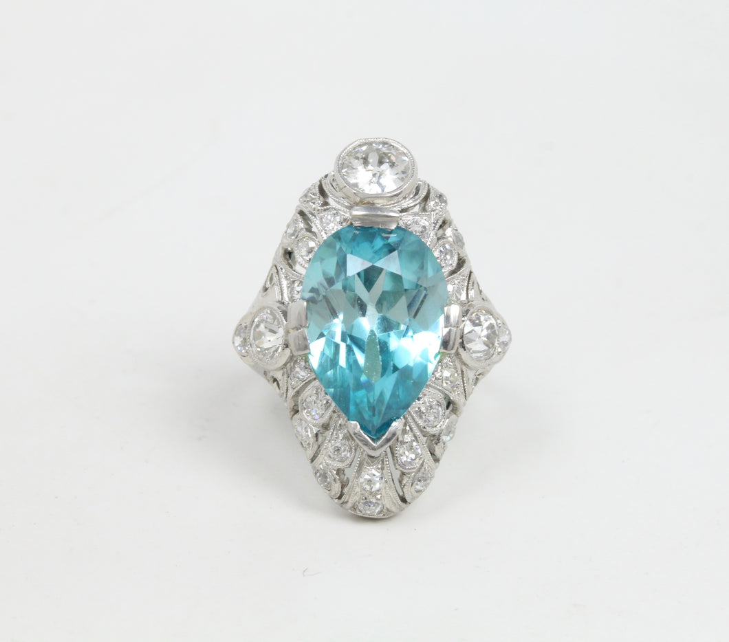 Edwardian GIA 9 Carat Blue Zircon and 1.3 Carat Diamond Platinum Navette Ring - alpha-omega-jewelry