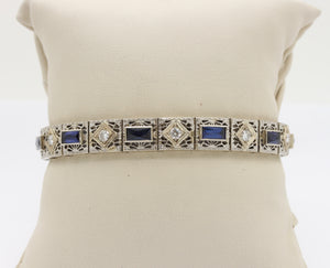 Art Deco 14K Gold Diamond and Sapphire Filigree Line Bracelet