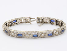 Load image into Gallery viewer, Art Deco 14K Gold Diamond and Sapphire Filigree Line Bracelet
