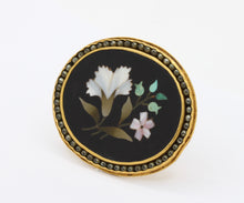 Load image into Gallery viewer, Antique 24K Gold Chinese Pietra Dura Mosaic and Seed Pearl Flower Pin